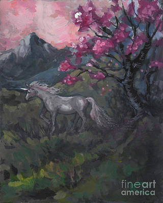Cherry Blossom Unicorn Poster by Kim Marshall