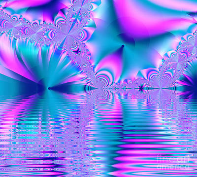 Pink, Blue And Turquoise Fractal Lake Poster