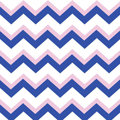 Pink Blue Chevron Pattern Poster by Christina Rollo