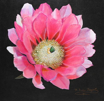 Poster featuring the painting Pink Cactus Flower by M Diane Bonaparte