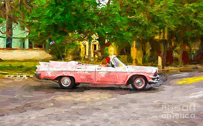 Pink Car With Fins Poster