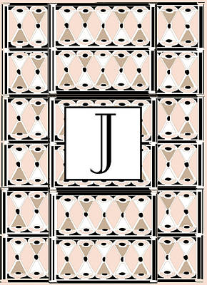 Pink Champagne Deco Monogram  J Poster by Cecely Bloom