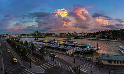 Pink Clouds Above The Danube, Budapest Poster