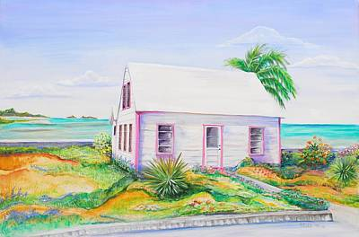 Poster featuring the painting Pink Cottage by Patricia Piffath