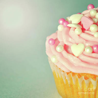 Poster featuring the photograph Pink Cupcake With Lovehearts by Lyn Randle