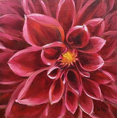 Poster featuring the painting Pink Dahlia by Pam Talley