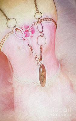 Pink Dress And Fleur De Lis - Color Sketch Poster by Kathleen K Parker
