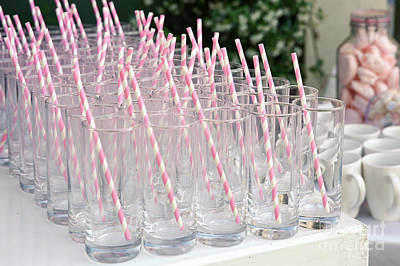 Pink Drinking Straws  Poster by PhotoStock-Israel
