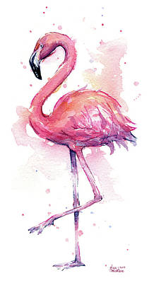 Pink Flamingo Watercolor Tropical Bird Poster by Olga Shvartsur
