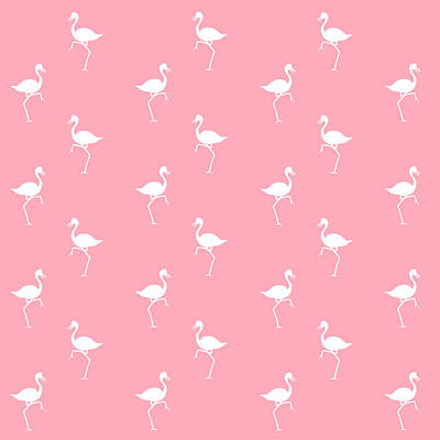 Pink Flamingos Pattern Poster by Christina Rollo
