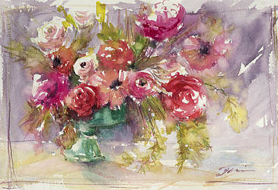 Pink Floral Impressions Poster by Judith Levins