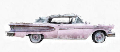 Pink Ford Edsel Watercolor Mug Poster by Edward Fielding