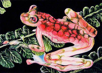 Pink Frog Poster by Hye Ja Billie