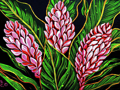 Pink Ginger Flowers Poster by Debbie Chamberlin
