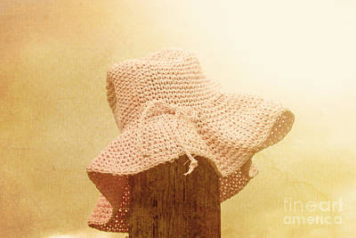 Pink Girls Hat On Farmyard Fence Post Poster