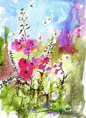 Pink Lavatera Watercolor Painting By Ginette Poster