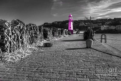 Pink Lighthouse Of St Ives Poster by Rob Hawkins