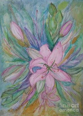 Pink Lily- Painting Poster by Veronica Rickard