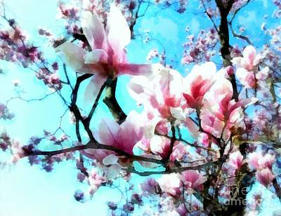 Pink Magnolia Poster by Janine Riley