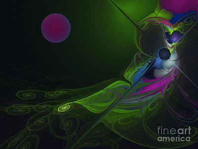Poster featuring the digital art Pink Moon by Karin Kuhlmann