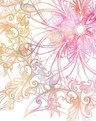 pink ornament Mandala and fractal color effect.  Poster by Jozef Klopacka