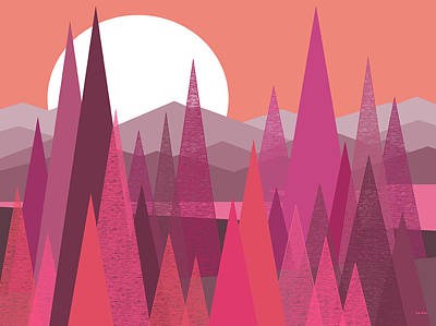 Pink Passion - Pink Landscape - Fantasy Poster by Val Arie