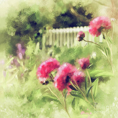 Poster featuring the digital art Pink Peonies In A Vintage Garden by Lois Bryan