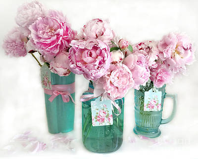 Pink Peonies In Aqua Vases Romantic Watercolor Print - Pink Peony Home Decor Wall Art Poster