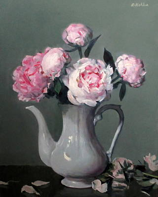 Pink Peonies In White Coffeepot Poster
