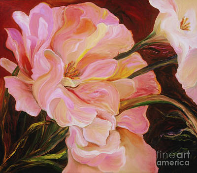Poster featuring the painting Pink Peony by Donna Hall