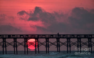 Pink Pier Sunrise Poster