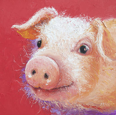 Pink Pig Painting Poster