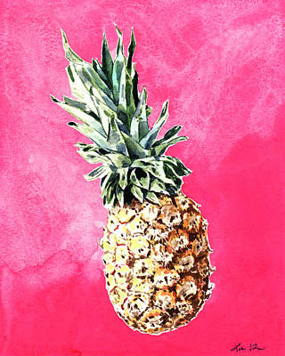 Pink Pineapple Bright Fruit Still Life Healthy Living Yoga Inspiration Tropical Island Kawaii Cute Poster by Laura Row