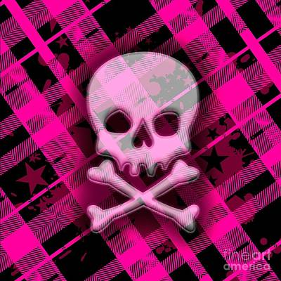 Pink Plaid Skull Poster