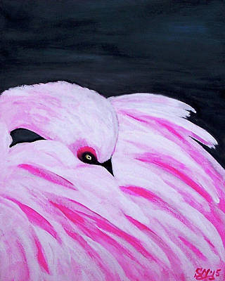 Poster featuring the painting Pink Primping Flamingo by Sonya Nancy Capling-Bacle