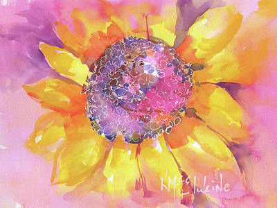 Pink Purple Yellow Sunflower  Poster by Kathleen McElwaine