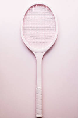 Pink Racket Tennis. Vintage Sport Poster