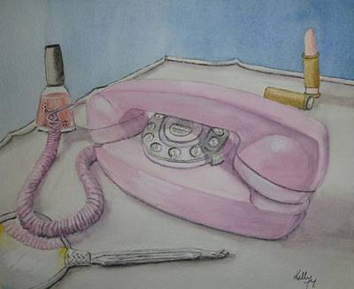 Poster featuring the painting Pink Retro 1960 Telephone by Kelly Mills