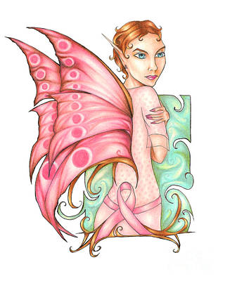 Pink Ribbon Fairy For Breast Cancer Awareness Poster by Kristin Aquariann