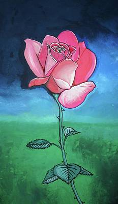 Pink Rose Poster by Mary Ellen Frazee