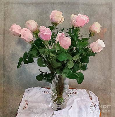 Poster featuring the digital art Pink Roses by Alexis Rotella