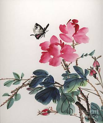 Poster featuring the painting Pink Roses And Butterfly by Yolanda Koh