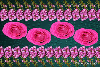 Pink Roses Floral Display Poster by Gary Crockett