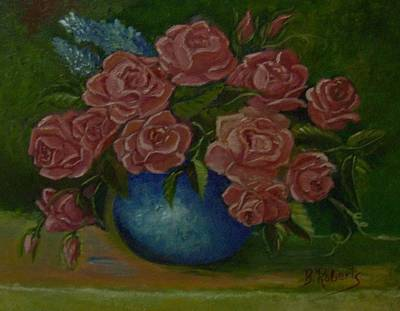 Pink Roses In A Blue Vase Poster by Bobbie Roberts