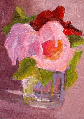 Pink Roses Still Life Painting Poster