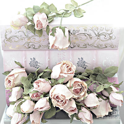 Poster featuring the photograph Pink Shabby Chic Roses On Pink Cottage Books - Shabby Cottage Pink Roses Home Decor by Kathy Fornal