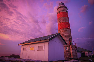 Pink Skies At Cape Moreton Lighthouse Poster