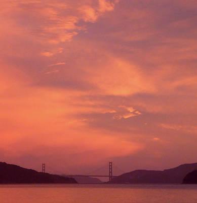 Pink Skies Over Golden Gate Bridge Poster by Anne Mott