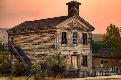 Pink Skies Over The Bannack School House Poster