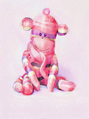 Poster featuring the digital art Pink Sock Monkey by Jane Schnetlage